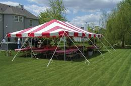 Red and white party canopy