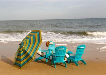 Blue Beach Adirondack Chairs with Umbrella