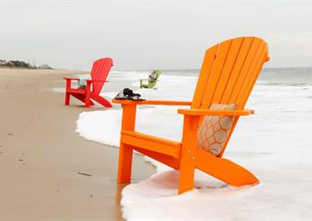 Orange, Red, and Green Beach Chairs