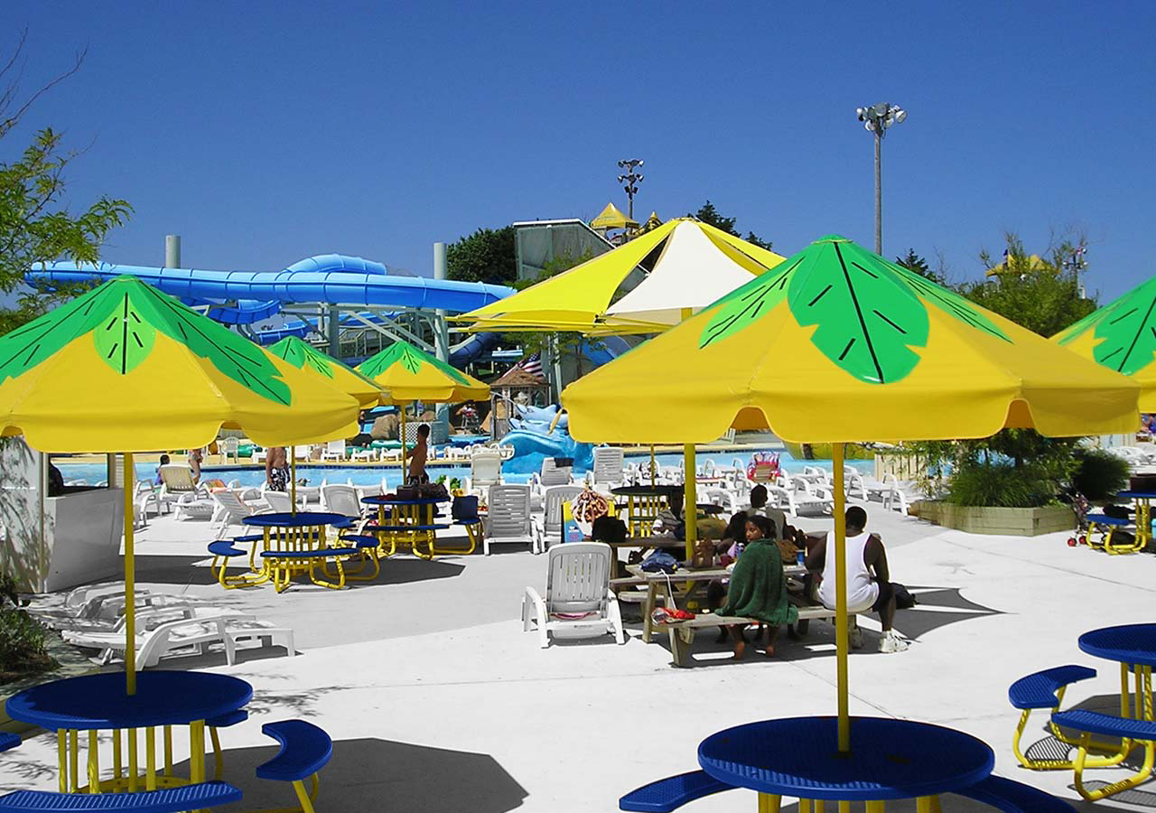 Cafe Umbrellas & Shade for Hotels Aquatic Centers and Parks | Waterloo Tent