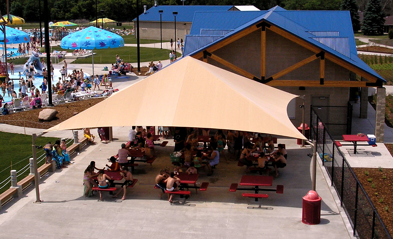 Four Post Hip & Shade for Hotels Aquatic Centers and Parks | Waterloo Tent